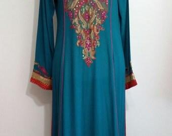 Indian dress, M, L, beaded tunic, embroidered dress, ethnic caftan, hippie dress, boho dress, sequin dress, sequin tunic