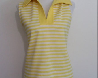 Yellow 70's top, M, yellow striped top, sleeveless top, sleeveless tunic, yellow tunic, 70's tunic, striped tunic