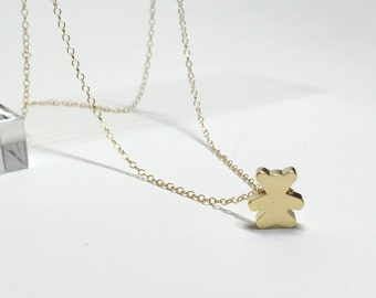 Gold plated teddy bear necklace. Gold teddy bear charm pendant necklace. Personalized necklace. Gold plated or gold filled chain.