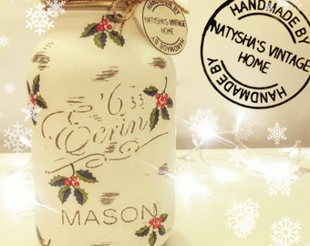 Hand made Christmas holly Mason jar