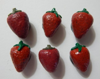 Set of 6: Red Strawberry Magnets Handmade from Polymer Clay