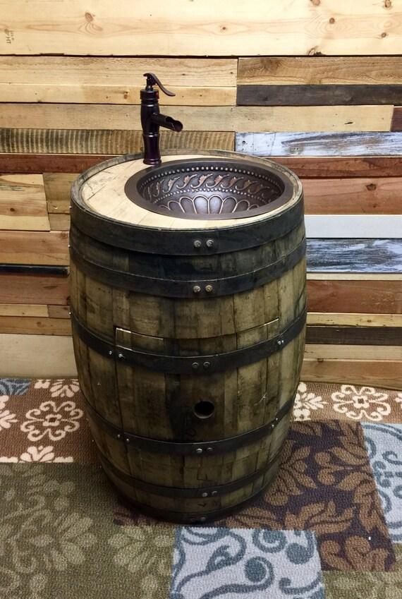 Aged Oak Whiskey Barrel Copper Sink Vanity By