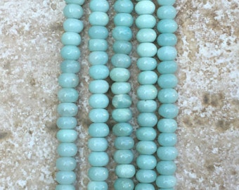 """Amazonite Beads - Mint Green Amazonite Beads, 4x6mm Sea Foam Green smooth rondelle beads - FULL 16"""" strand (about 90 beads) - G1013"""