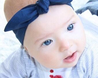 "Baby Bow Headband, Baby Girl Headband, Baby Girl Bows, Navy Blue, Baby Knot Headband, ""Paige"""