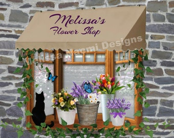 Personalized Flower Shop Art, Florist Art, Customize With Your Name or Shop Name, Digital or Printed, Custom Floral Shop Sign