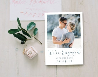 Personalised Printable Card, Save-the-Date Card, We're Engaged Collection, PDF