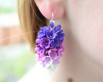 Lilac earrings jewelry. Long flower floral purple lilac earrings. ombre earrings jewelry. purple red earrings jewelry