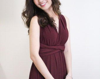 Maxi Wine Bridesmaid Dress Infinity Dress Prom Dress Convertible Dress Wrap Dress