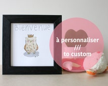 Welcome baby. Crowned owl drawing. Original framed watercolor. Custom birth gift.