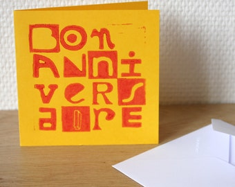 "Square Folded Card, typographic and colored, ""Bon Anniversaire"""