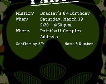 Camouflage Paintball Birthday Party Invitation | Digital File