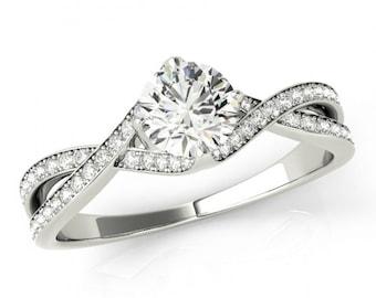 Forever One Moissanite & Diamond Engagement Ring, Swirl Engagement Rings, 5mm Moissanite, Braided Band Moissanite Rings for Women 14k or 18k