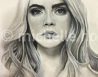 Custom Portrait (Mixed Media) - Cara Delevingne