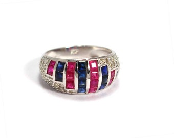 Ruby Sapphire Diamond  925 Sterling Silver Ring Red Blue by AmoreIndia R511