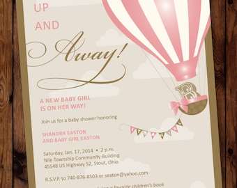 Up Shower Invitation, Up Baby Shower Invitation, Up Shower Invite, Up And  Away
