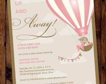 Up Shower Invitation, Up Baby Shower Invitation, Up Shower Invite, Up and Away invitation, Hot Air Balloon Invitation, Up Up and Away Invite