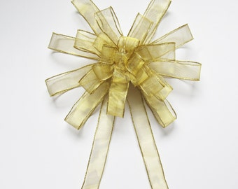 Sheer Large Wired Bow - Gold - Large Wired Bow - 25 Loops