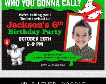 Ghostbusters Invitation - Printable Ghostbusters Birthday Party Invitation - Ghostbusters Party Invite with Photo - Halloween Party Invite