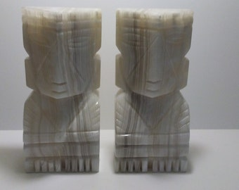 Onyx Bookends Huge Aztec Bookends Large Mayan Head Bookends Heavy Hand Carved Hand Made Bookends 20lb Marble Bookends