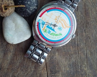 Very rare face Russian vintage watch made in USSR in 1990 men's watch good condition 2609HA, 19 jewels