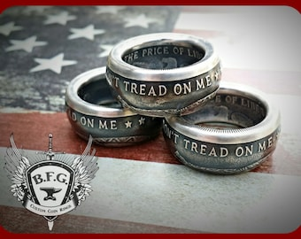 Don't Tread On Me ( Price Of Liberty ) Handcrafted .999 Fine Silver Coin Ring 1oz