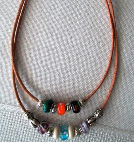 Cork Beads: Cork Necklace With Glass And Metal Beads By InnerFeeling