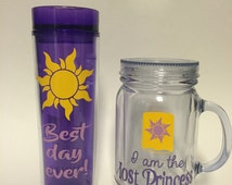 Best Day Ever and Lost Princess tumblers inspired by Disney's Tangled