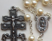 Handmade Swarovski Pearl Cruz de Caravaca Rosary, Our Lady of Guadalupe, Catholic Gift, Easter, Christmas, Mexico, Spain,Free Shipping