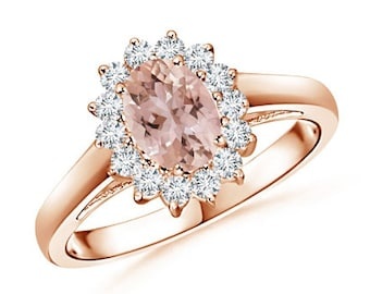 verkauf rosa morganit ring diamant ring verlobungsring 14k. Black Bedroom Furniture Sets. Home Design Ideas