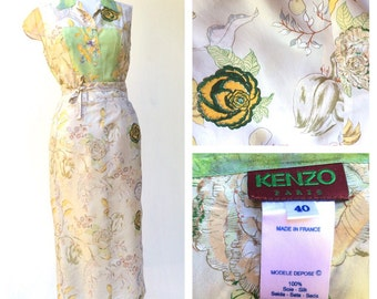 Kenzo Paris French Couture Dreamy Silk Asymetrical Floaty Silk Skirt and Blouse Japanese Watercolour 1990s
