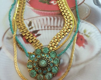 Turquoise and Gold Brooch Necklace