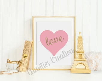 Pink Heart Gold Glitter Love Wall Art Printable 8x10 and 11x14