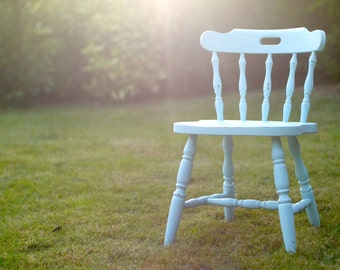 Blue Shabby Chic Dining Chair Painted Pine Farmhouse Kitchen Solid Industrial Modern Distressed Chalk Paint