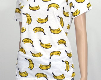 Banana Shirt, Tropical fruit Shirt, Womens T Shirt, Banana Full print shirt, Summer shirt, Beach Shirt, Graphic tee shirts