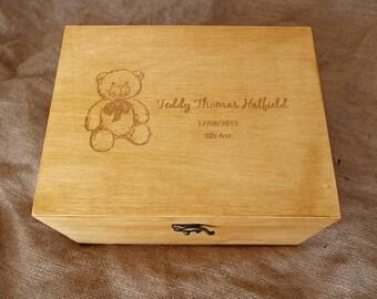 Personalised Baby memory box, Baby keepsake box, Teddy bear memory box