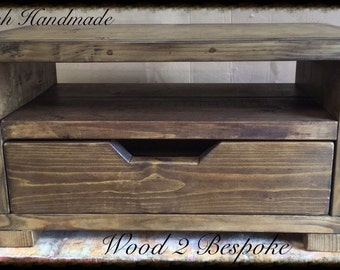 Rustic Pinewood Coffee Table With Drawer - HAand Made