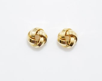 Love Knot Bead . Knot Pendant . Knot Charm . Wedding Jewelry . 16K Polished Gold Plated over Brass - 4pcs / YO0008-PG