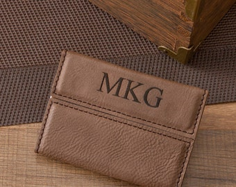 Personalized Business Card Holder - Business Card Case - Business Card Wallet - Mocha