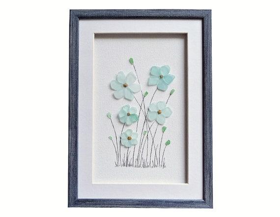 fleurs art en verre de mer cadeau de pendaison par pebbleartdream. Black Bedroom Furniture Sets. Home Design Ideas