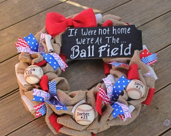 Baseball Wreath - Baseball Sign - If we don't answer - We're at the ball field - Burlap Baseball Wreath - Sports wreaths -  Baseball Mom