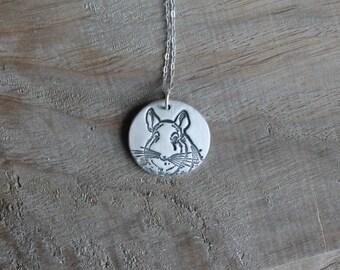 Chinchilla fine silver pendant