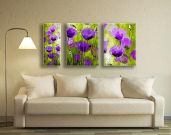 Flower Painting, Poppy Painting, Purple Flowers, Purple Floral, Purple and Green, Purple Painting, Multi Panel Art, 3 Panel Art