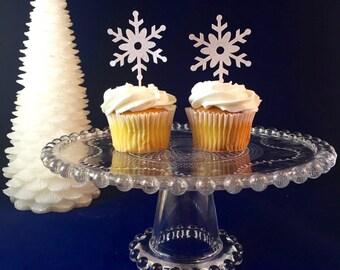 Snowflake Winter Wonderland Glitter Cupcake Toppers, Winter Cupcake Toppers, Winter ONEderland, Winter Party- Set of 12