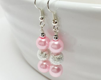Pink Drop Earrings Pink and Silver Dangles Baby Pink Bridesmaid Gift Bridal Party Gift Pink Beaded Jewelry Wedding Earrings Summer Wedding