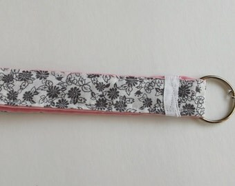 Floral Grey & Pink Wristlet Keychain (Pata's Hope Collection)