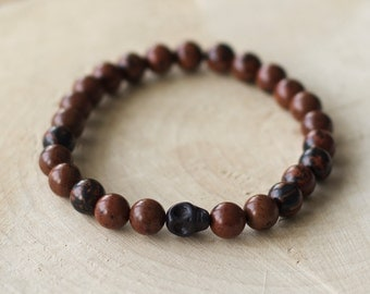Bracelet for men semi-precious stones - Brown Obsidian