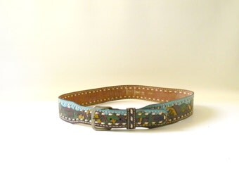 Vintage Hand Painted Leather Belt