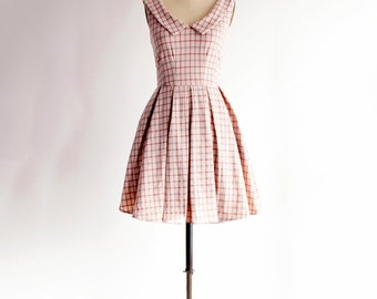 SALE limited edition SUNDAY   Coffee Plaid -mocha tan collar dress with pockets. retro fit and flare dress full pleated skirt.
