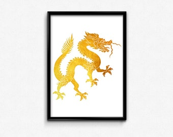 Chinese, Dragon, Chinese New Year, Traditional, Asian, Gold Foil, Print, Printable, Art, Home, Decor, Lucky, Gifts