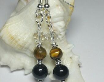 20% DISCOUNT SALE, Black Shell Pearl - Tiger Eye Earrings, Gemstone Earrings, Silver Handmade Costume Jewellery, Under 20 Gift for Her